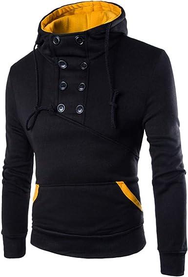 Letdown/_Men Hoodies Hooded Shirts Men Slim Fit Autumn Six Buttons Hoodie Korean Version Sweatshirt Top Tee Outwear Blouse