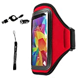 [Key Holder] [Removable and Adjustable hook-and-loop] Red Waterproof Armband Fit More Size Arm for HTC U Play -5.2'' with Determination Hand Strap + Retractable 2.1A mini USB Car Charger with Micro USB