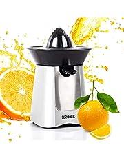 Duronic JE6 /SR Presse-agrume électrique compact en inox de 100W - Bec verseur - 2 Cônes interchangeables - Idéal pour jus d'agrumes, citrons et oranges