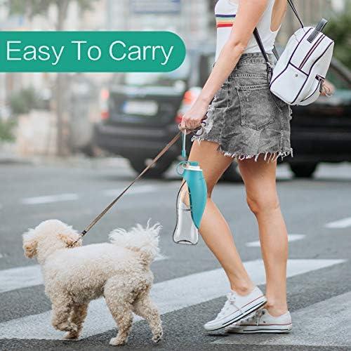 ORIA Botella de agua para perro, botella portátil de agua para mascotas, botella de agua para mascotas, 20 onzas con dispensador de bolsas de residuos para perros, botellas de agua para viajes, caminar 4