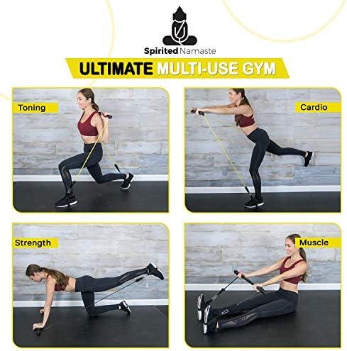 Spirited Namaste – Kit de entrenamiento portátil para pilates/yoga, barra corporal y palo para tonificar el hogar con 3 bandas de resistencia: accesorios, bandas de entrenamiento de suspensión con correa para el pie y banda de gimnasio de pilate 9