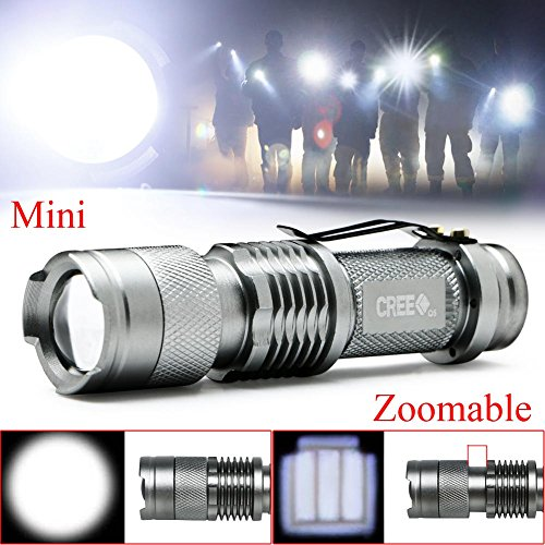 XY ZONE Mini Flashlight CREE Q5 LED Adjustable Zoom Focus Flashlight Torch Sliver