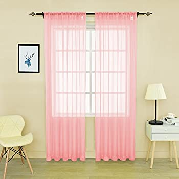 HOLKING Sheer Window Cutains For Bedroom Rod Pocket Curtains 95 Inch Living Room By 2 Panels Pink Voile Each Is 52 Width