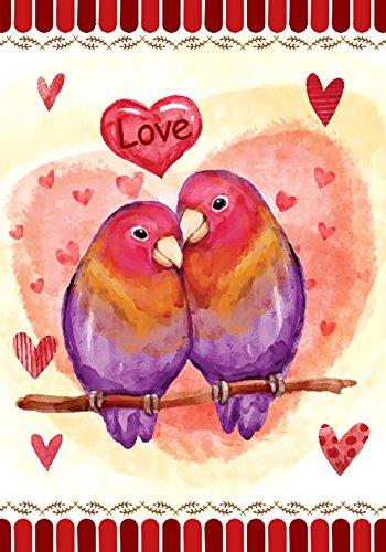 Morigins Be Mine Love Birds Valentine's Day Garden Flag 12.5