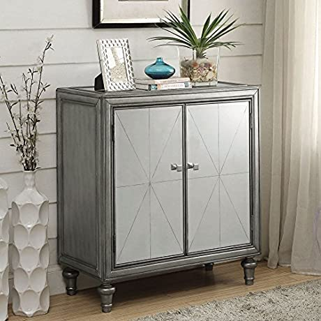 Coaster 2 Shelf Accent Cabinet In Silver