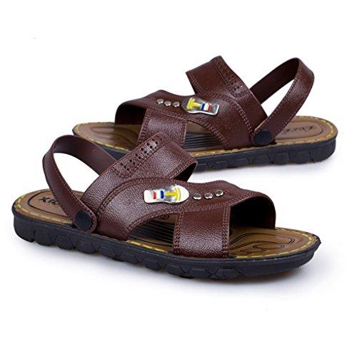 ACMEDE Men Sandals Breathable Anti Slip Summer Fashion Holidays Pool Men Flip Flop Brown UCBz7n66