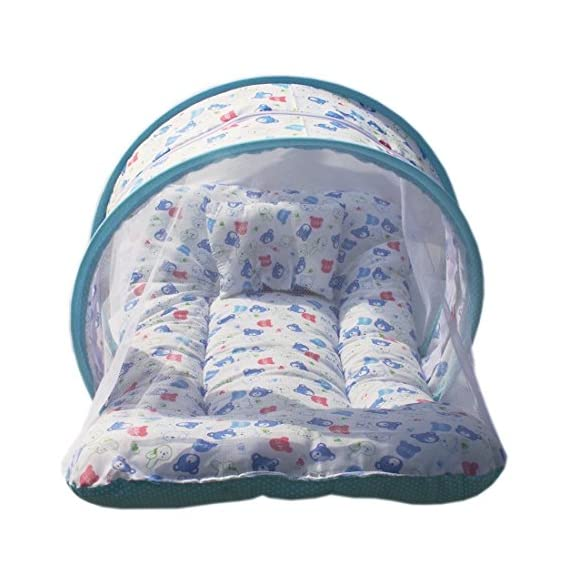 KiddosCare Toddler Mattress with Mosquito Net for Baby (Blue)