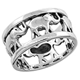 Sterling Silver Elephants Ring for Women 5/16 inch size 11