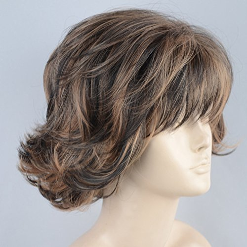 Top Wig Skin Blonde Brown - Classic Short Perfect Wavy Summer Style Blonde mix Brown Skin Top Ladies Wigs