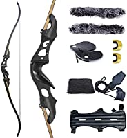"""Black Hunter Original Takedown Recurve Bows for Adults Hunting Bow Archery Bow Longbow 60"""" 20-55 lbs Righ"""