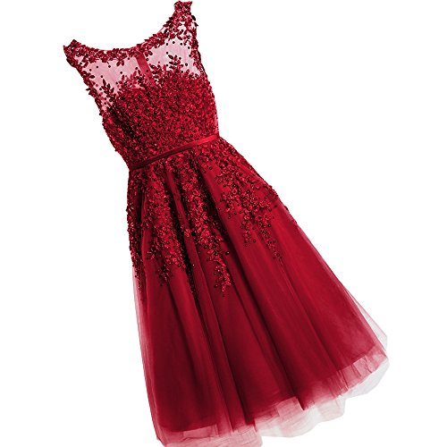 WDING Women Formal Short Evening Dresses Lace Appliques With Pearls Knee Length Prom Dress Burgundy,US12
