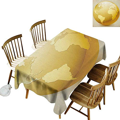 kangkaishi Anti-Wrinkle and Anti-Wrinkle Polyester Long Tablecloth for Weddings/banquets Vivid Style Earth Icon in Yellow Color World Sphere Global International Theme W52 x L70 Inch Yellow Beige