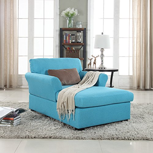 Large Classic Linen Fabric Living Room Chaise Lounge (Blue) Double Arm Chaise Lounge