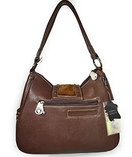 Buckle Montana Pockets amp; West Floral w Coffee Tooled Hobo Side Leather RqRgErwz