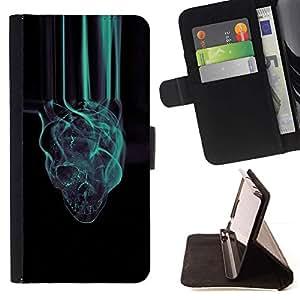 Momo Phone Case / Flip Funda de Cuero Case Cover - Haze Negro trullo oscuro Cráneo Negro de Humo - HTC DESIRE 816