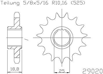 5//8/x 5//16 Pignone 15/denti in acciaio serie 525/divisione