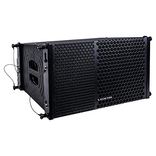"""Sound Town ZETHUS Series 10"""" Powered Two-Way Line Array Loudspeaker System with Titanium Compression Driver, Black (ZETHUS-110PW)"""