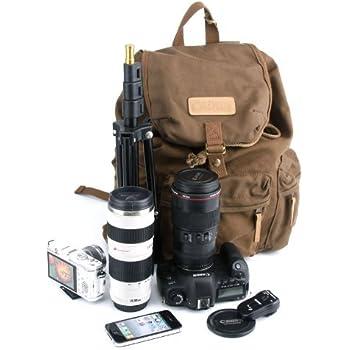 Caden Canvas Dslr SLR Camera Shoulder Bag Backpack Rucksack Bag with Waterproof Cover for Sony Canon Nikon Olympus