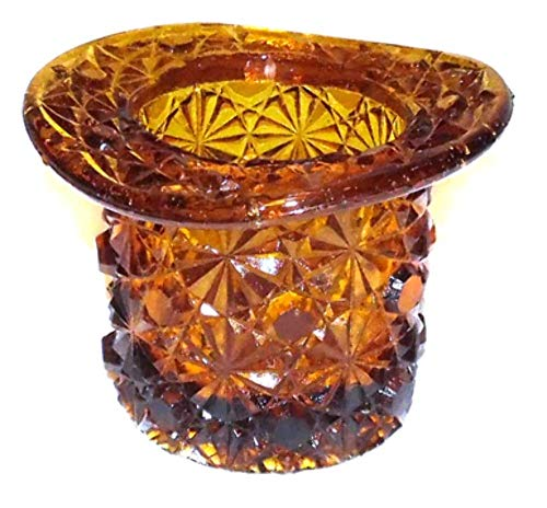 Vintage Small Fenton Amber Art Glass Top Hat Vase Toothpick Holder