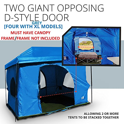 Standing Room Family Cabin Tent 8.5 FEET OF HEAD ROOM 2 or 4 Big Screen Doors Fast Easy Set Up, Full waterproof Fabric Ceiling (NOT LEAKY MESH SCREEN),FULL TUB STYLE Floor CANOPY FRAME NOT INCLUDED! (Camping Tents Tall)