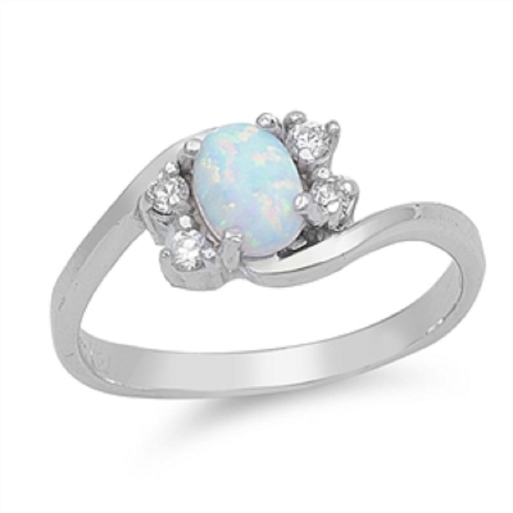 CloseoutWarehouse Oval White Simulated Opal Swirl Tension Ring Sterling Silver Size 3