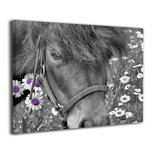 Okoart Canvas Wall Art Prints Black White Purple Horse Dasiy Flowers Farmhouse Photo Paintings Modern Decorative Artwork for Living Room Wall Decor and Home Decor Framed Ready to Hang 16x20inch (Farm White Horse)