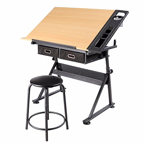 Yaheetech Height Adjustable Drafting Draft Desk Drawing Table Desk Tabletop Tilted Art Craft Work Station w 2 Storage Drawer and Stool