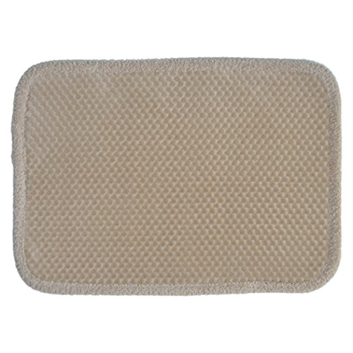 Home Dynamix Taupe Memory Foam Bath Floor Mat/Area Rug: Soft Plush Dot Design with Border, 17