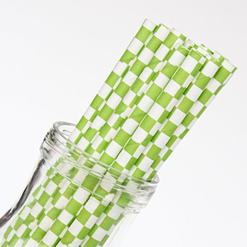 Checkered Lime Paper Straws