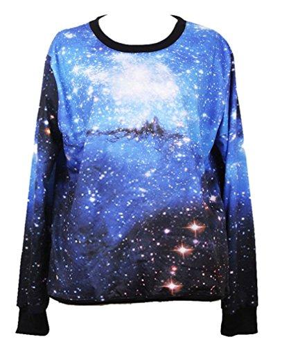 UPC 919119199751, Pandolah Neon Galaxy Cosmic Colorful Patterns Print Sweatshirt Sweaters (Free size, Bright blue)
