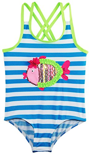 Wippette Baby Stripes with Fish Applique Swimsuit, Atomic Blue, 24 Months by Wippette (Image #1)