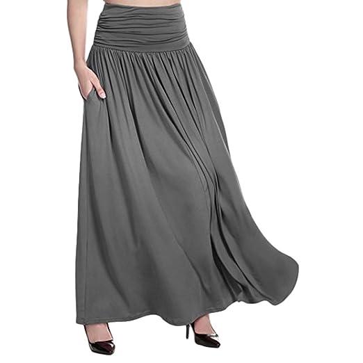 425787674 Amazon.com: PPkloth Women's High Waist Solid Swing Gypsy Maxi Skirt ...