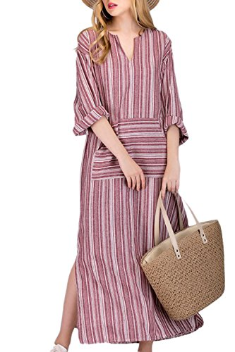 (Simgahuva Womens Linen Maxi Dress Cotton Stripes Shift Dresses Plus Size with Pocket Red L)
