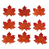 DECORA 200 Pieces Artificial Fabric Fall Maple Leaves Scatters for Fall Weddings & Parties(Red and Brown)