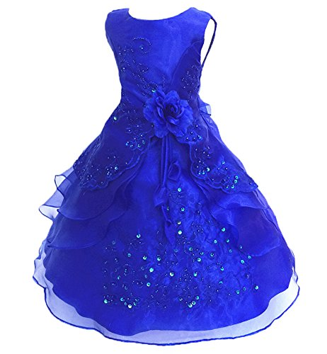 Joyshop Girl's Embroidered Flower Princess Sleeveless Dress Bridesmaid Beaded Party Gown Dress,Royal Blue,160cm -