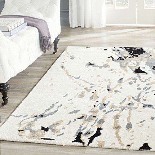 Safavieh Bella Collection BEL117A Handmade Modern Abstract Art Ivory and Grey Wool Area Rug (5' x 8')