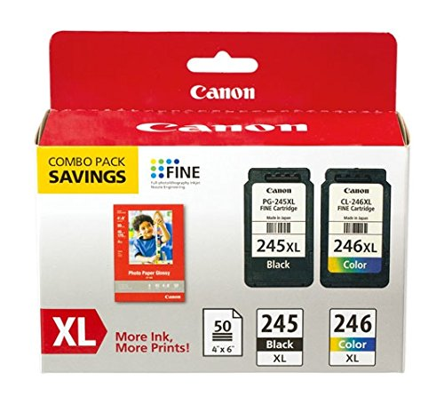 Canon PG-245XL/CL-246XL Ink Cartridge/Paper Kit - Black, Col
