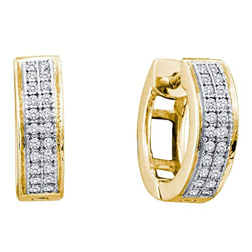 The Diamond Deal 10kt Yellow Gold Womens Round Diamond Double Row Huggie Hoop Earrings 1/6 Cttw