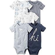 William Carter Baby Boys' 5 Pack Bodysuits (Baby) Navy Hi, 3 Months