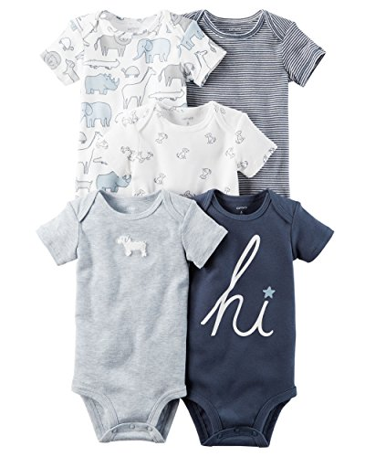 William Carter Baby Boys' 5 Pack Bodysuits (Baby) Navy Hi, 9 Months