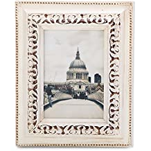 FFYYEE Retro-Wood Picture Frame F17W-2 (5X7, Milky)
