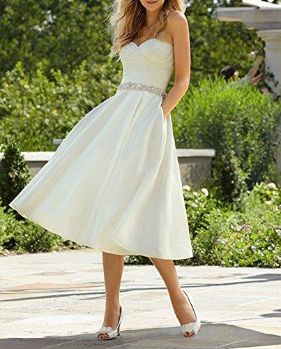 Hochzeitskleider Jahrgang Izanoy 50s Ausschnitt Satin 2017 One V Kurz Damen Weiß Abendkleid Perlen pWqfR