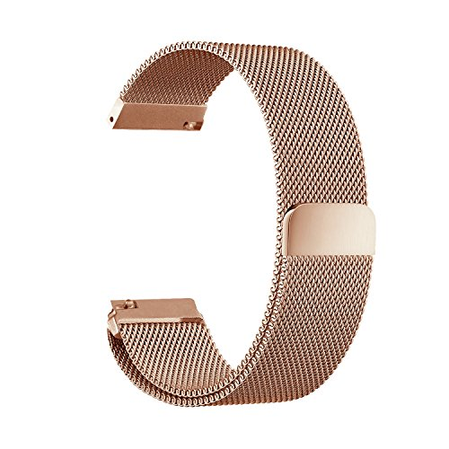 GOSETH Compatible with Pebble time 22mm Mesh Stainless Steel Band Replacement Accessories Compatible with Pebble Time/Pebble Time Steel/Samsung Gear S3 /TicWatch Pro(Rose Gold)