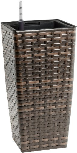 Weles GMBH Gartenfreude Resin Wicker Planter with Watering System - Bicolour Brown Finish