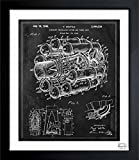 vintage airplane blueprint - 'Aircraft Jet Engine 1946' Vintage Framed Wall Art Print for Home decor & Office. The Airplanes Wall Decor Blueprint Collection by The Oliver Gal Artist Co. Hand Framed and Ready to Hang. 15x18 inch