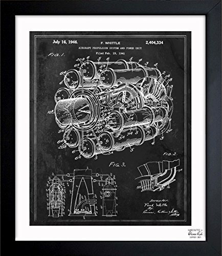 Aircraft Jet Engine 1946' Vintage Framed Wall Art Print for Home decor & Office. The Airplanes Wall Decor Blueprint Collection by Oliver Gal Hand Framed and Ready to Hang. 15x18 inch