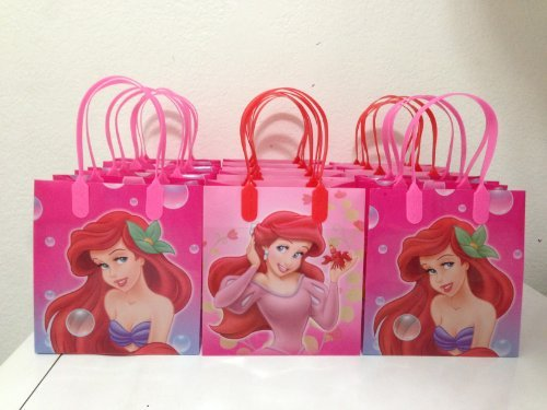Disney Little Mermaid Party Favor Goodie Small Gift Bags, pack of 12 (Little Mermaid Gift Bags)