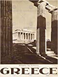 TRAVEL ATHENS GREECE PARTHENON ACROPOLIS ANCIENT COLUMN ART PRINT POSTER BB7434B