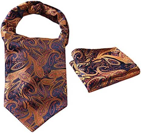 HISDERN Men's Paisley Jacquard Woven Self Cravat Tie Ascot Set