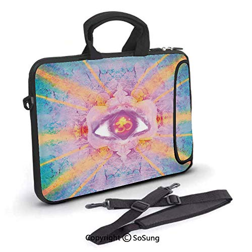 - 13 inch Laptop Case,Inner Third Eye Sign Sun and Clouds Zen Karma Wisdom Concept Illustration Neoprene Laptop Shoulder Bag Sleeve Case with Handle and Carrying & External Side Pocket,for Netbook/MacBo
